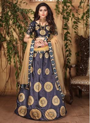 Blue Satin Designer Lehenga Choli