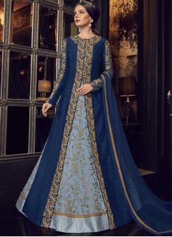 Blue Wedding Floor Length Anarkali Suit