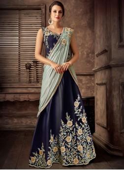 Blue Wedding Tafeta Silk Lehenga Style Saree