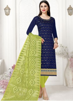 Blue Woven Churidar Suit