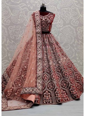 BollyWood Design & Machin Embroidery Work Bridal Lehenga Choli In Maroon