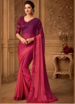 Border Art Silk Designer Saree in Rose Pink