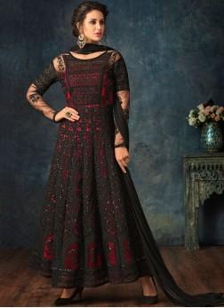 Breathtaking Black and Red Anarkali Salwar Suit