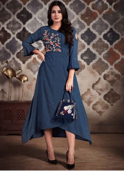 Breathtaking Embroidered Rayon Blue Party Wear Kurti