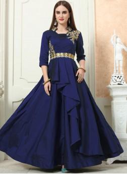 Breathtaking Embroidered Tafeta Silk Navy Blue Designer Gown
