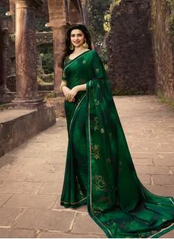 Breathtaking Foil print Prachi Desai Faux Georgette Printed Saree