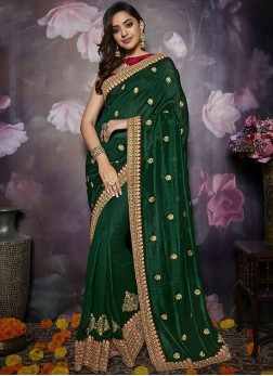 Breathtaking Green Mehndi Trendy Saree