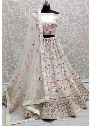 Bridal Charming Off White Soft Net & Thread Work Lehenga Choli