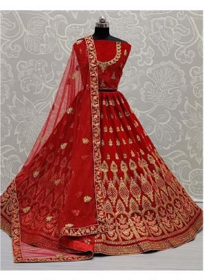 Bridal Embroidery Lehenga Choli In Red