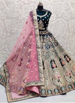 Bridal Embroidery Velvet Lehenga Choli In Teal
