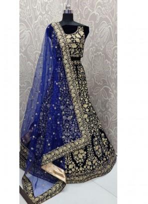 Bridal Engaging Blue Zari Embroidery Designer Lehenga Choli