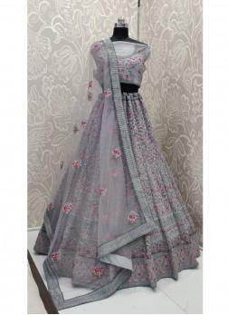Bridal Enjoyable Grey Soft Net & Thread work Lehenga Choli