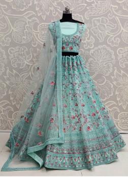 Bridal Gratifying Sky Blue Soft Net & Thread Lehenga Choli