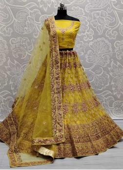 Bridal Haldi Ceremony Embroidery Lehenga Choli In Yellow