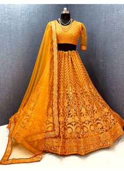 Bridal Haldi Ceremony Net Embroidery Lehenga Choli