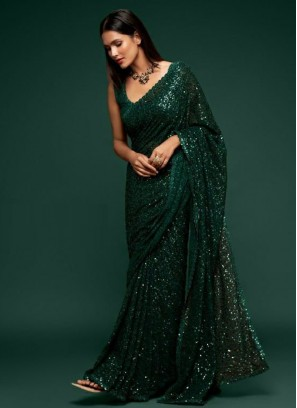 Bridal Mehandi Sequences Embroidery Saree In Green