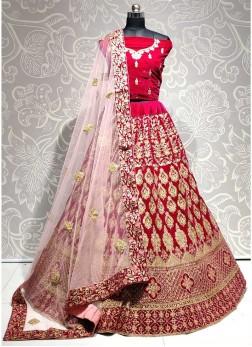Bridal Pink Glowing Thread Work On Velavet Lehenga Choli