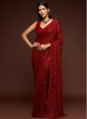 Bridal Recaption Thread Embroidery Saree In Red