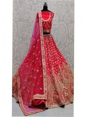 Bridal Sequins - Thread Embroidered Lehenga Choli In Pink