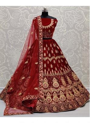 Bridal Velvet Embroidery Lehenga Choli In Maroon