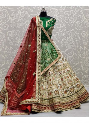 Bridal Wear Incredible Tread & Zarcon Work On Silk Lehenga Choli In Red - Green