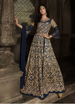 Bridal Wear Prodigious Embroidery Work On Net Gown In Navy Blue