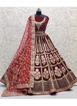 Bridal Wear Sublime Sequence work On Velvet In Lehenga Choli In Cherry Maroon