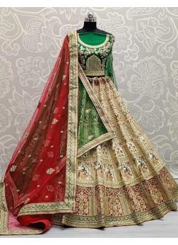 Bridal Wear Wondrous Embroidery Work In Velvet Lehenga Choli In Green & Red