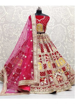 Bridal Yellow Patch Work Touch Up On Velvet Lehenga Choli In Pink