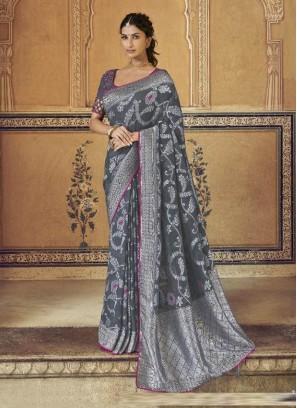Bright Silver Designer Pure Dola Silk Saree