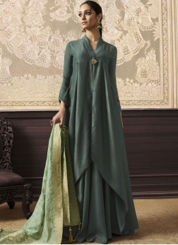Brilliant Green Party Wear Kurti