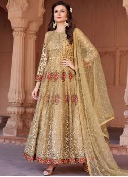Brilliant Resham Gold Floor Length Anarkali Suit