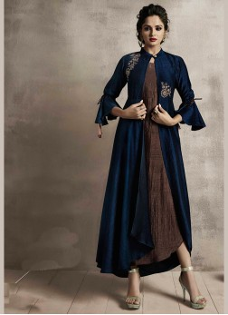 Brown and Navy Blue Satin Embroidered Party Wear Kurti