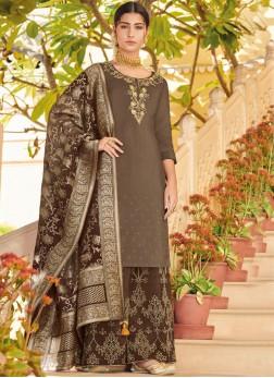 Brown Art Silk Ceremonial Designer Pakistani Suit