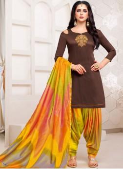 Brown Embroidered Art Silk Designer Patiala Suit