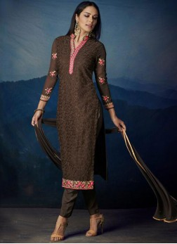 Brown Embroidered Party Designer Suit
