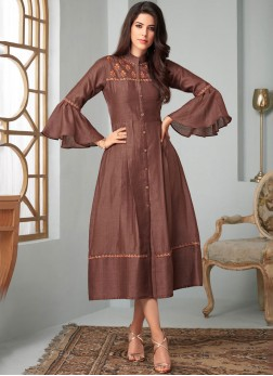 Brown Fancy Fabric Embroidered Party Wear Kurti