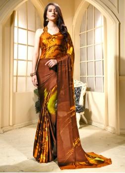 Brown Faux Crepe Printed Trendy Saree