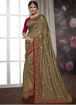 Brown Mehndi Art Silk Designer Saree