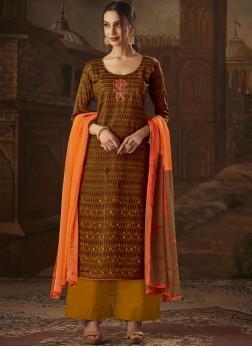 Brown Print Designer Palazzo Suit