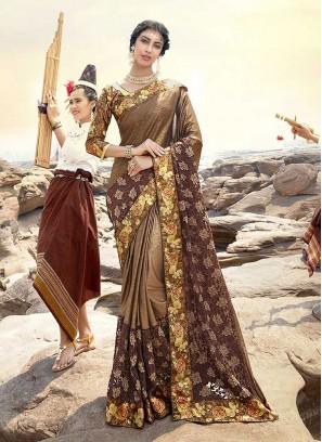 Brown Print Net Classic Saree
