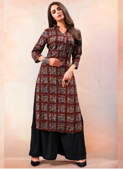 Brown Print Rayon Party Wear Kurti