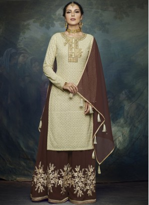 Brown Resham Faux Georgette Designer Palazzo Suit