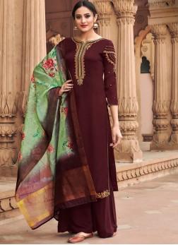 Brown Satin Resham Designer Palazzo Suit