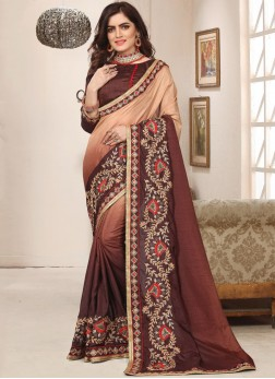 Brown Zari Art Silk Trendy Saree