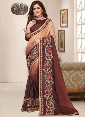 Brown Zari Art Silk Trendy Saree
