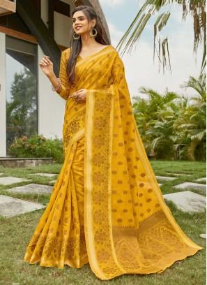 Butti Wotk Banarasi Saree On Cotton In Yellow