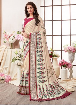 Capricious Art Silk Multi Colour Abstract Print Printed Saree