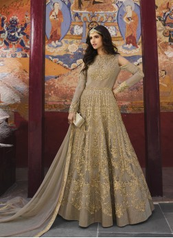 Capricious Beige Embroidered Anarkali Salwar Suit