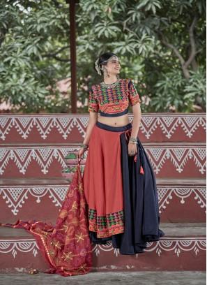 Capricious Cotton Fabric Gamathi Work Navratri Lehengacholi